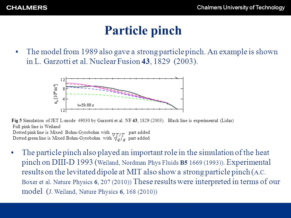 Chalmers University of Technology Particle pinch The model from 1989 also gave a strong particle pinch. An example is shown in L. Garzotti et al. Nucl