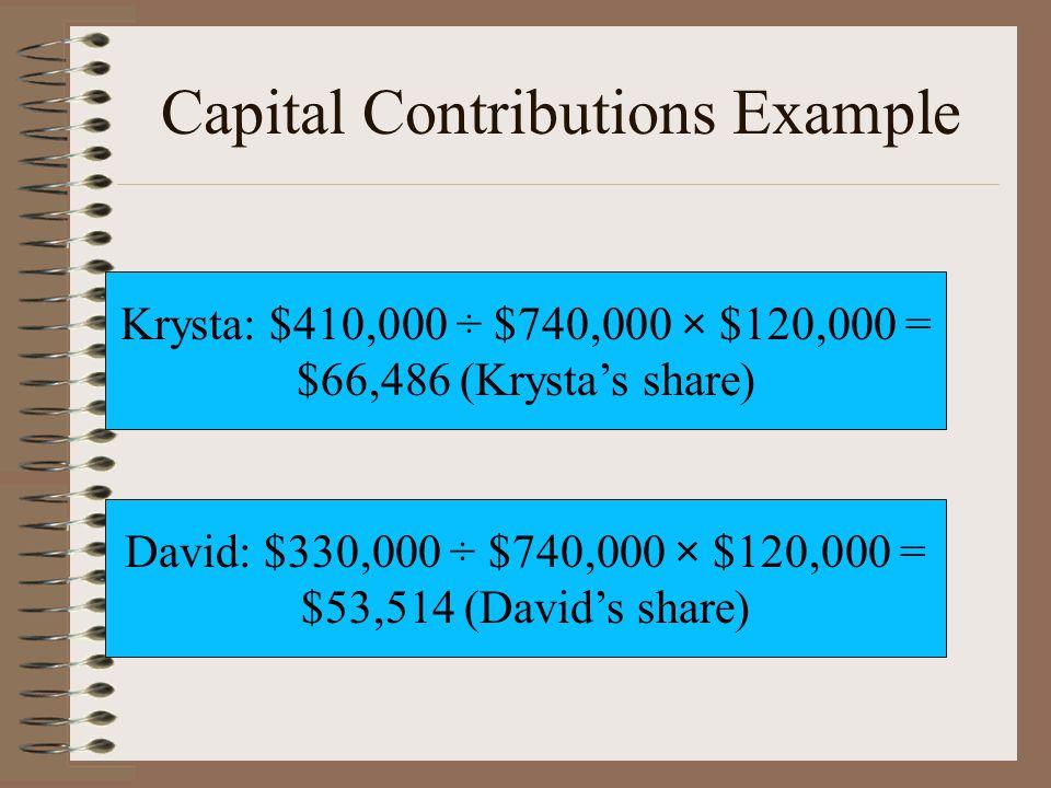 Capital Contributions Example David: $330,000 ÷ $740,000 × $120,000 = $53,514 (David's share) Krysta: $410,000 ÷ $740,000 × $120,000 = $66,486 (Krysta's share)