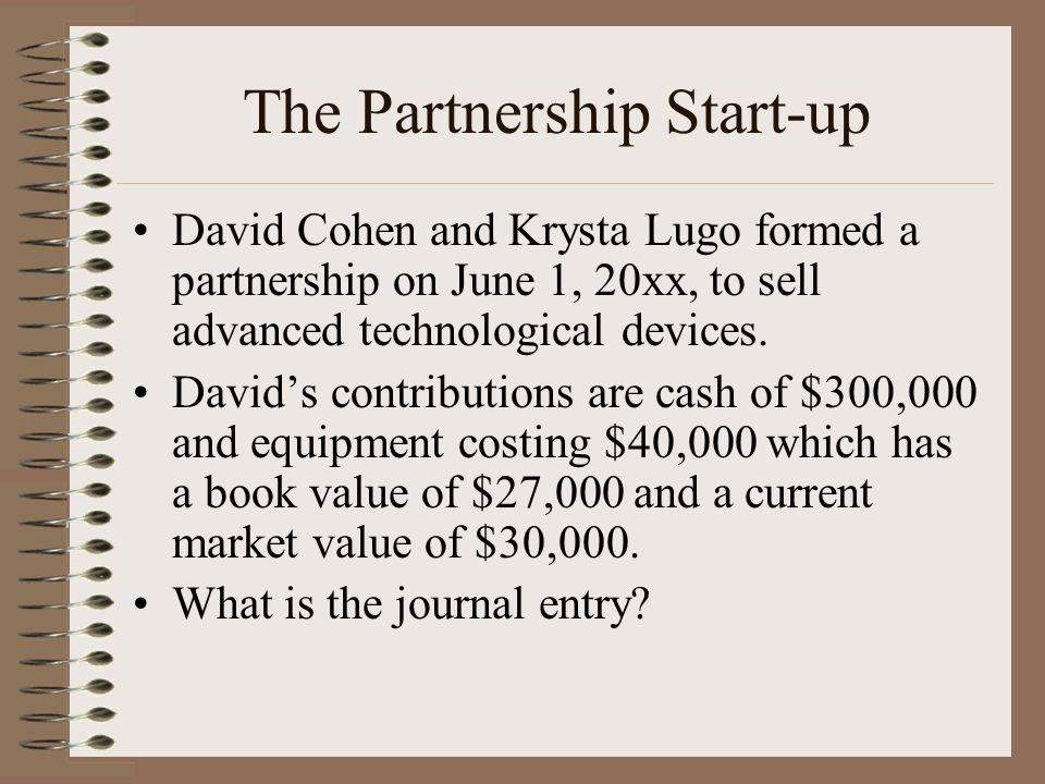 The Partnership Start-up David Cohen and Krysta Lugo formed a partnership on June 1, 20xx, to sell advanced technological devices.