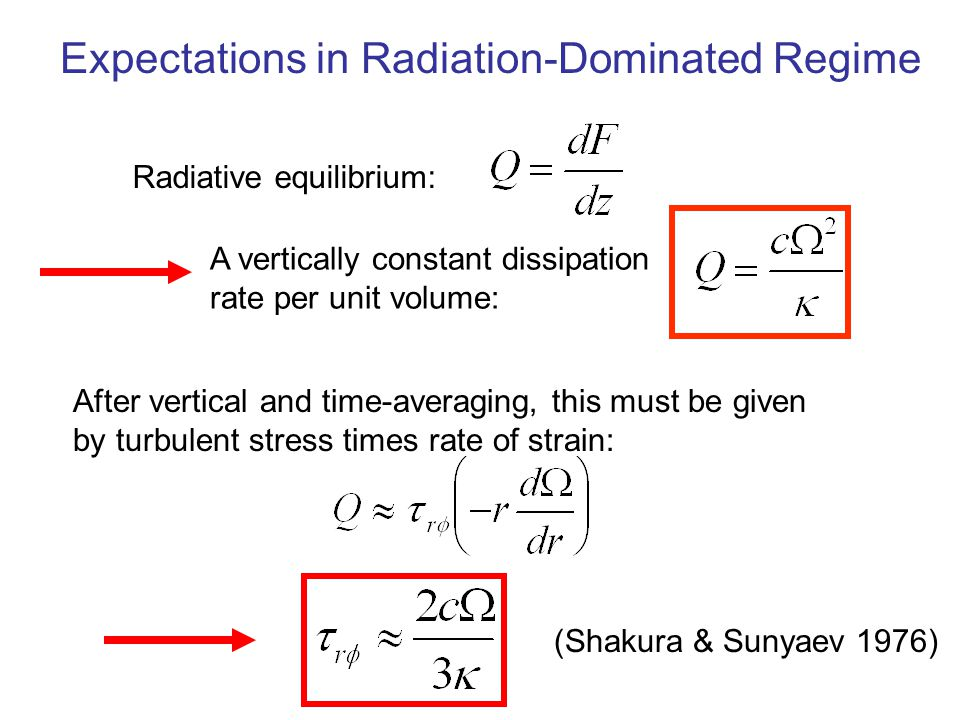 Radiative equilibrium: After vertical and time-averaging, this must be given by turbulent stress times rate of strain: Expectations in Radiation-Domin