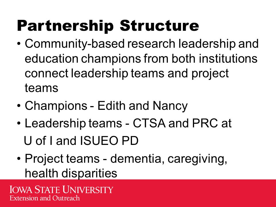 Partnership Structure Community-based research leadership and education champions from both institutions connect leadership teams and project teams Ch