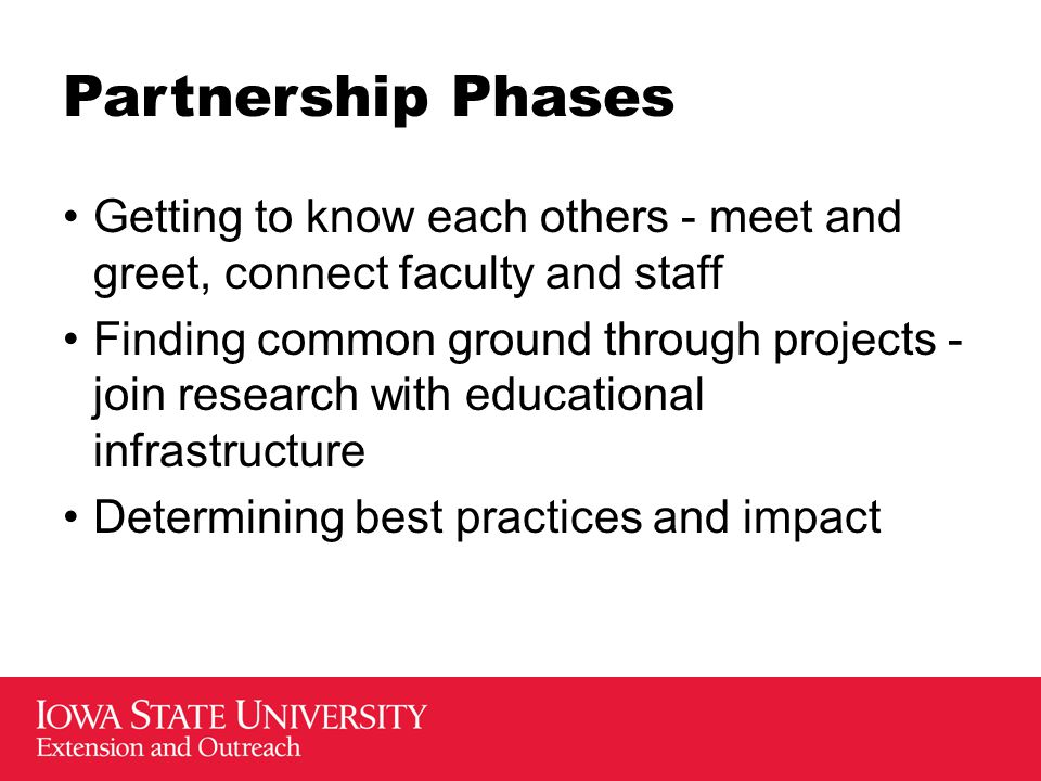 Partnership Phases Getting to know each others - meet and greet, connect faculty and staff Finding common ground through projects - join research with
