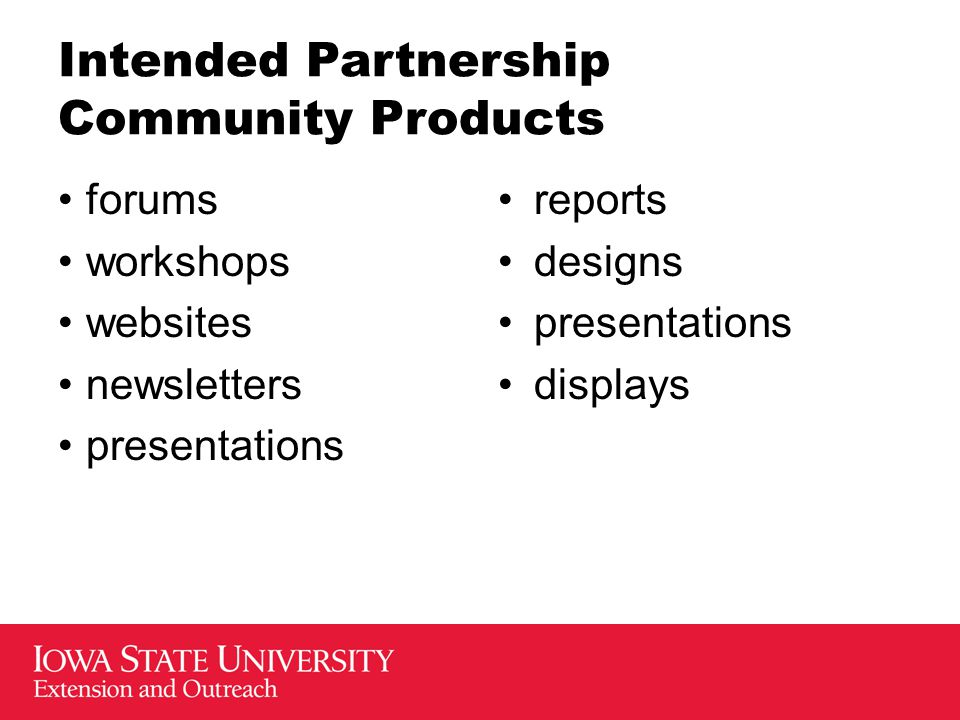 Intended Partnership Community Products forums workshops websites newsletters presentations reports designs presentations displays