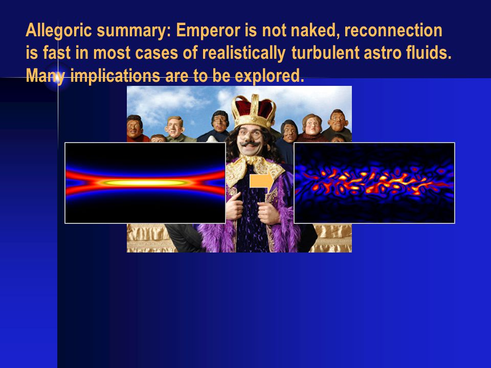 Allegoric summary: Emperor is not naked, reconnection is fast in most cases of realistically turbulent astro fluids.