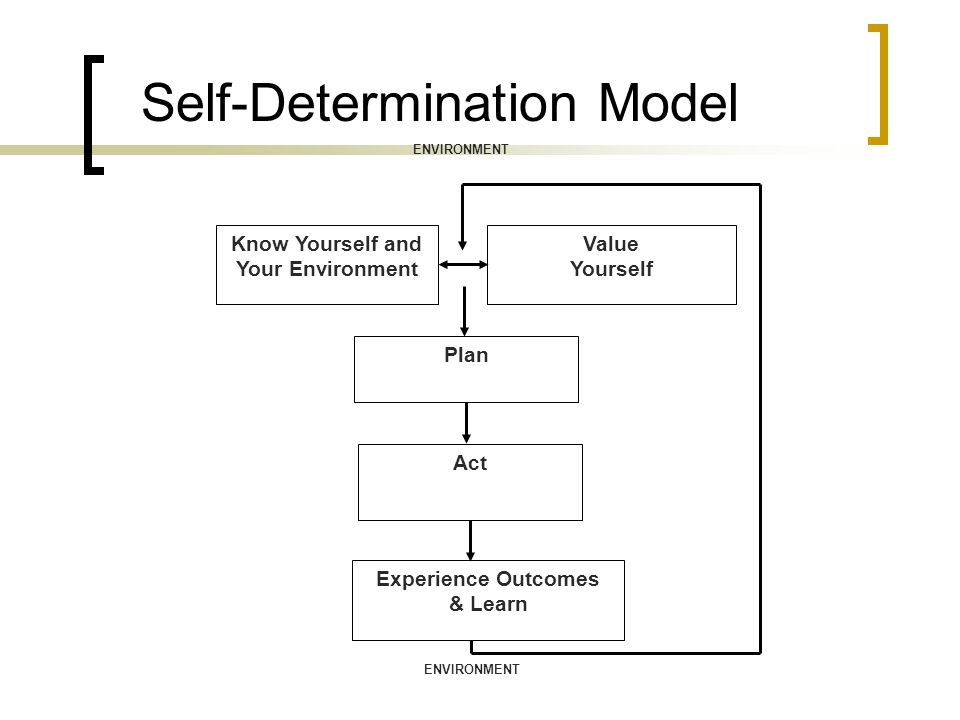 Self-Determination Model Know Yourself and Your Environment Value Yourself Plan Act Experience Outcomes & Learn ENVIRONMENT