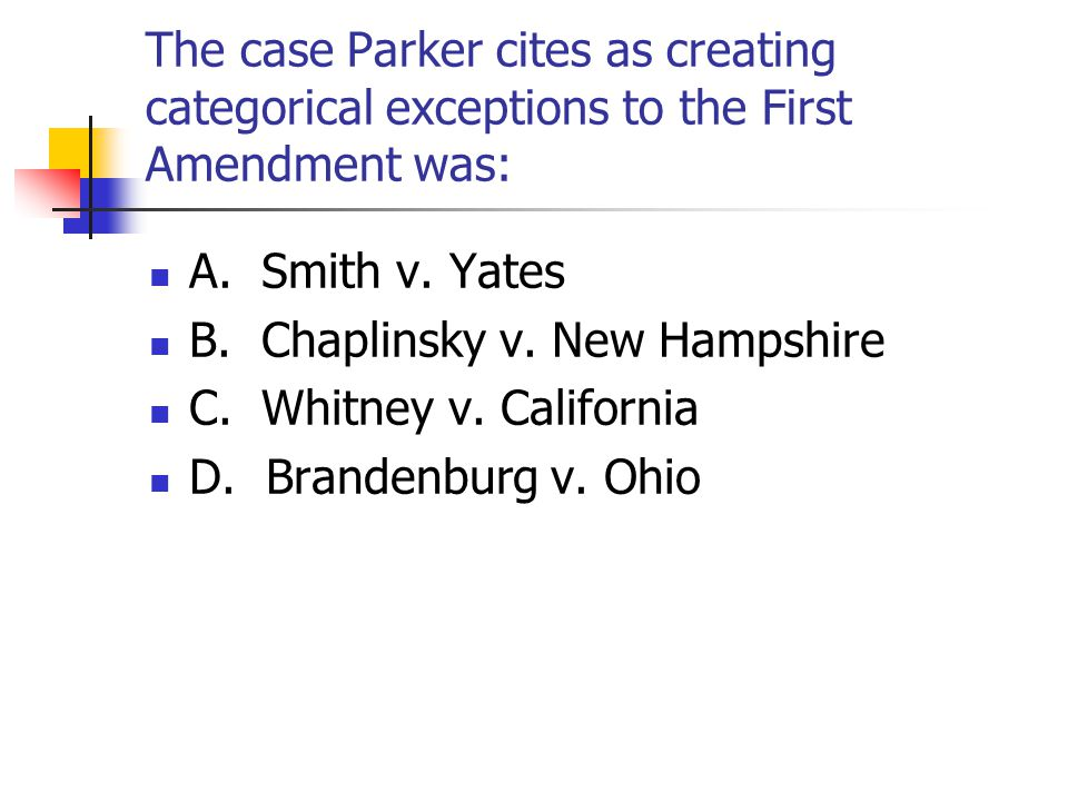 The case Parker cites as creating categorical exceptions to the First Amendment was: A.