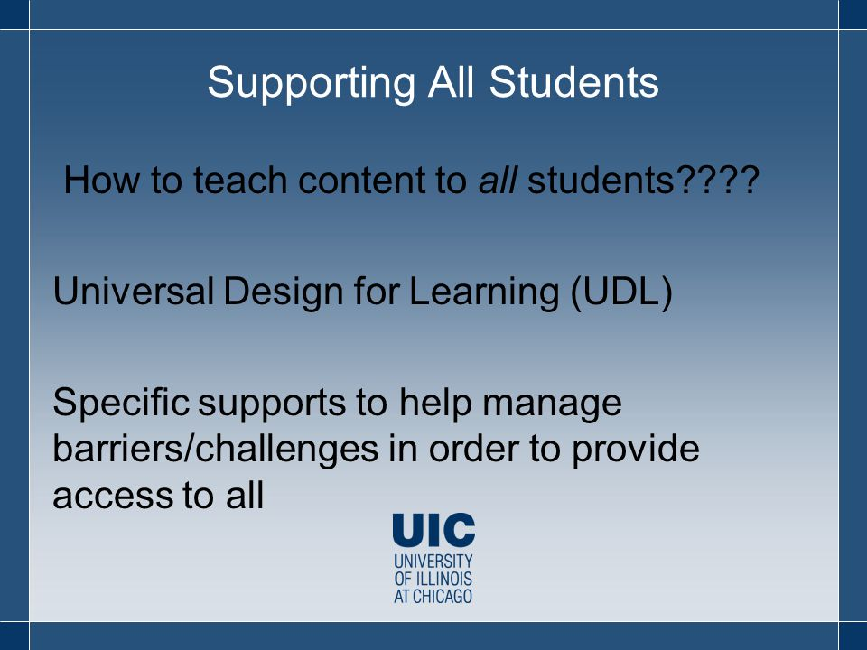 Supporting All Students How to teach content to all students???.