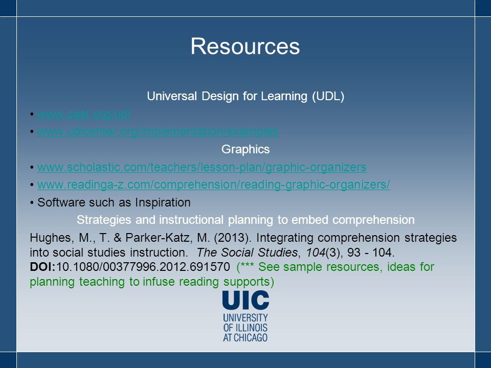 Resources Universal Design for Learning (UDL) www.cast.org/udl www.udlcenter.org/implementation/examples Graphics www.scholastic.com/teachers/lesson-plan/graphic-organizers www.readinga-z.com/comprehension/reading-graphic-organizers/ Software such as Inspiration Strategies and instructional planning to embed comprehension Hughes, M., T.