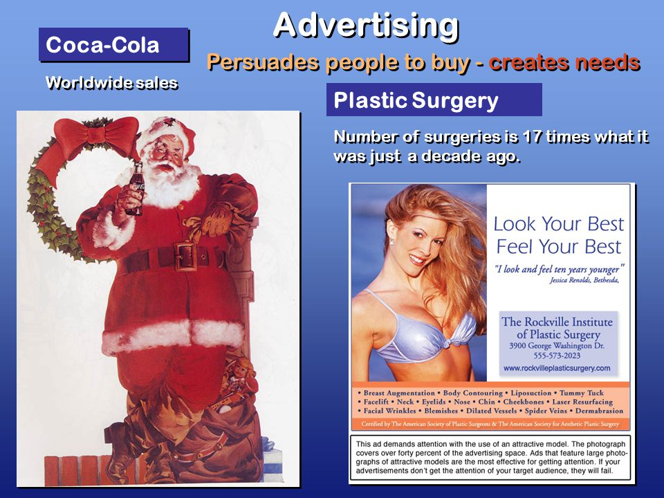 Advertising Coca-Cola Worldwide sales Plastic Surgery Persuades people to buy - creates needs Number of surgeries is 17 times what it was just a decade ago.