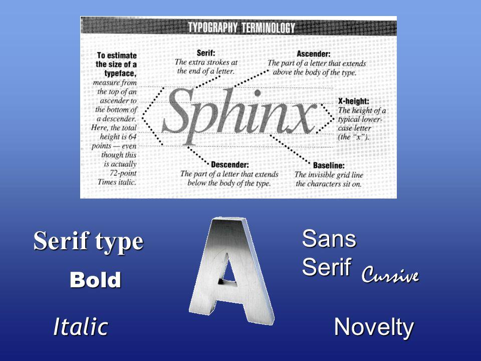 Serif type Sans Serif Bold ItalicNovelty Cursive