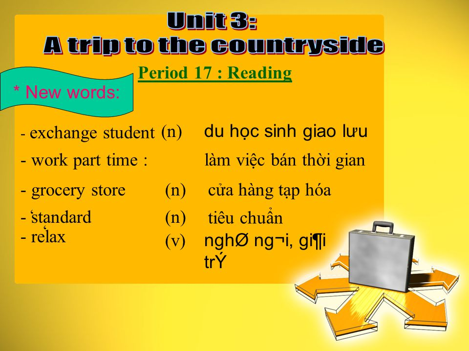Period 17 : Reading * New words: - exchange student - work part time : - grocery store - standard - relax (n) du học sinh giao lưu làm việc bán thời gian (n)cửa hàng tạp hóa (n) tiêu chuẩn (v) nghØ ng¬i, gi¶i trÝ ' '