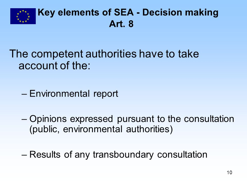 10 Key elements of SEA - Decision making Art.