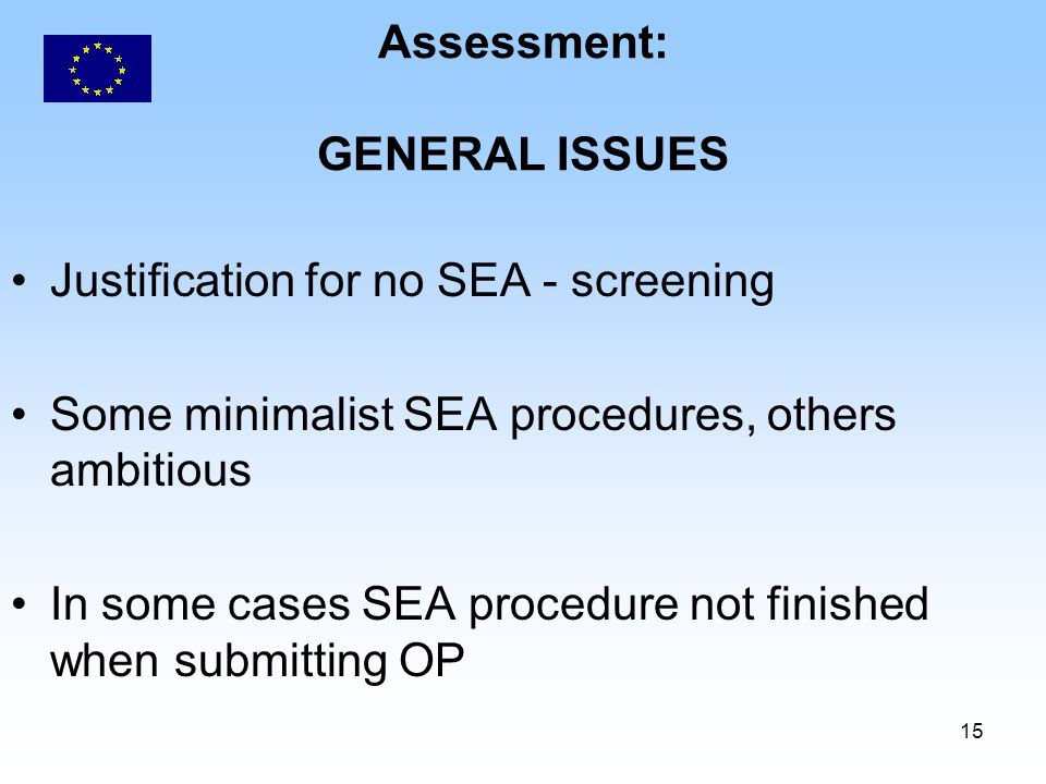 15 Assessment: GENERAL ISSUES Justification for no SEA - screening Some minimalist SEA procedures, others ambitious In some cases SEA procedure not finished when submitting OP