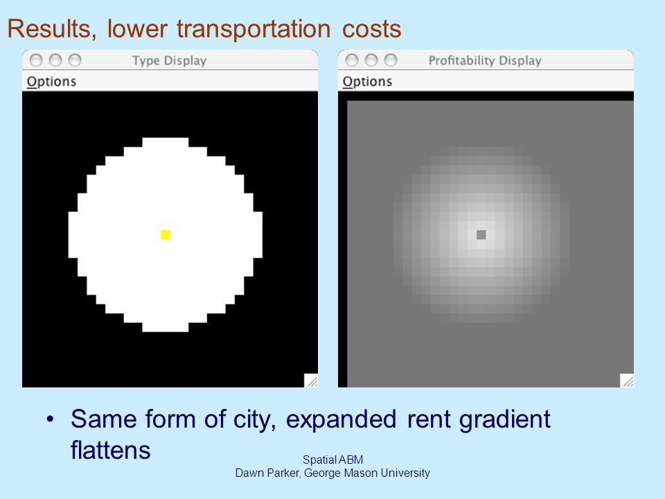 Spatial ABM Dawn Parker, George Mason University Results, lower transportation costs Same form of city, expanded rent gradient flattens
