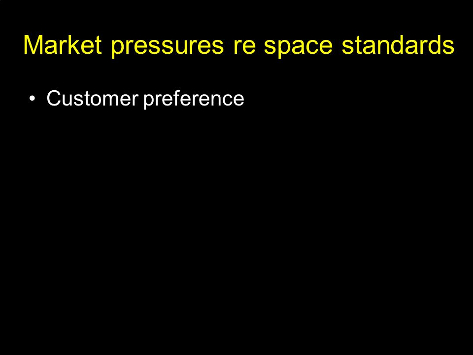 Market pressures re space standards Customer preference