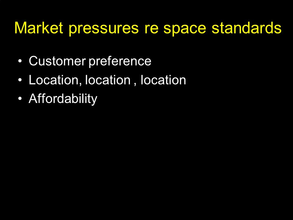 Market pressures re space standards Customer preference Location, location, location Affordability