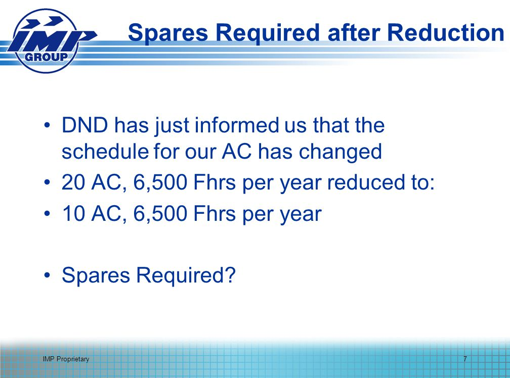 IMP Proprietary7 Spares Required after Reduction DND has just informed us that the schedule for our AC has changed 20 AC, 6,500 Fhrs per year reduced to: 10 AC, 6,500 Fhrs per year Spares Required?