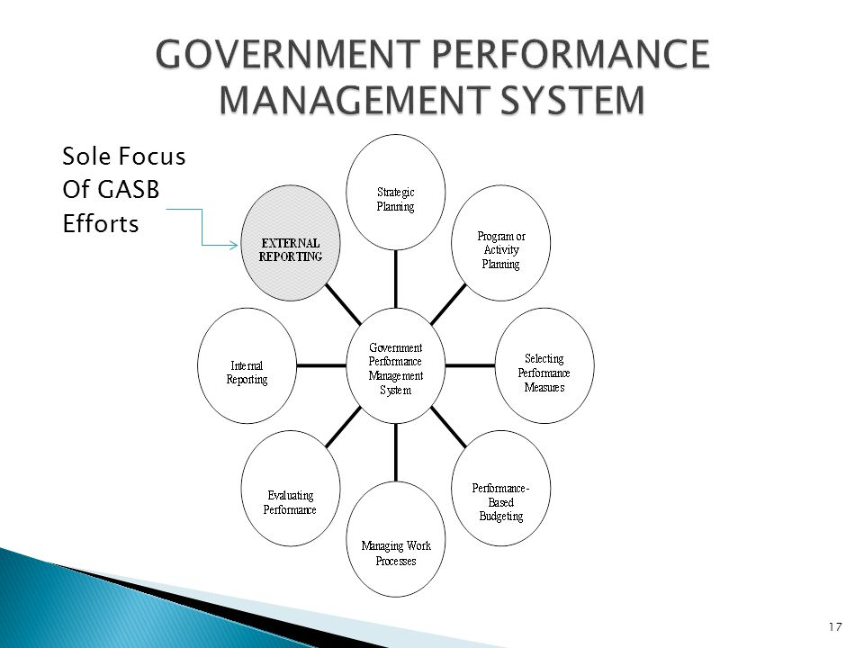 Sole Focus Of GASB Efforts GOVERNMENT PERFORMANCE MANAGEMENT SYSTEM 17