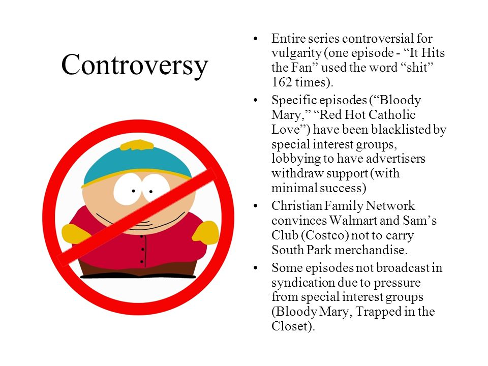 "Controversy Entire series controversial for vulgarity (one episode - ""It Hits the Fan"" used the word ""shit"" 162 times). Specific episodes (""Bloody Mar"