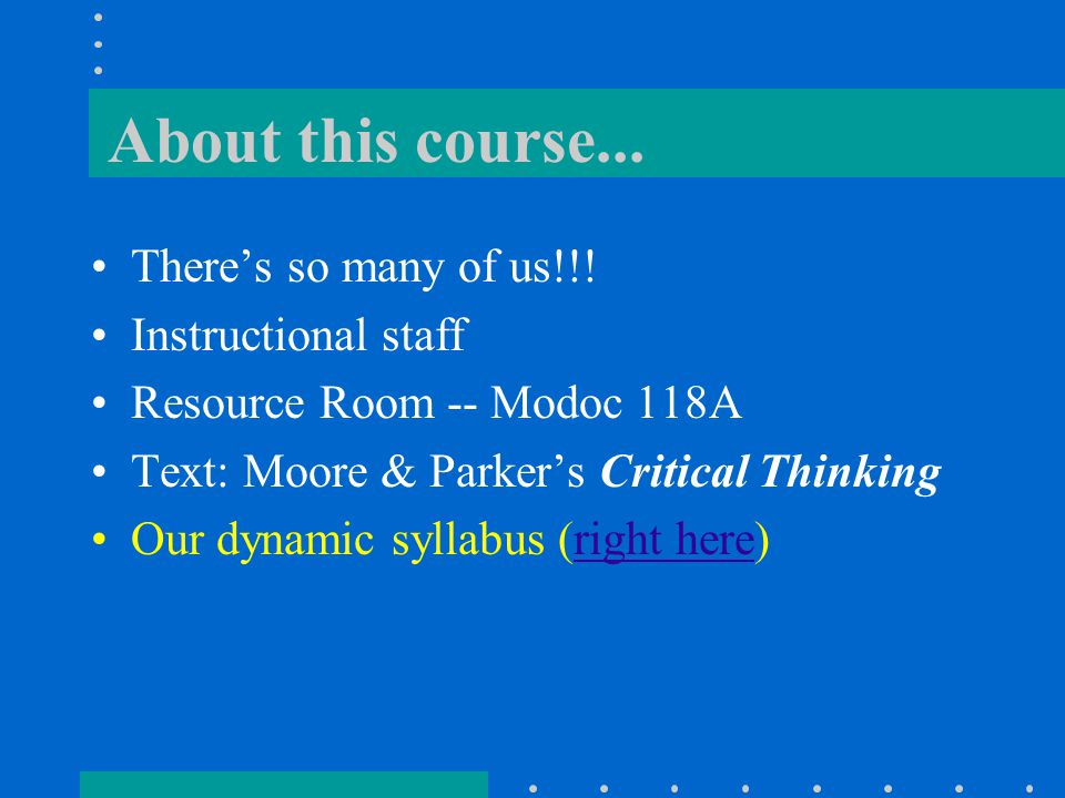 About this course... There's so many of us!!.