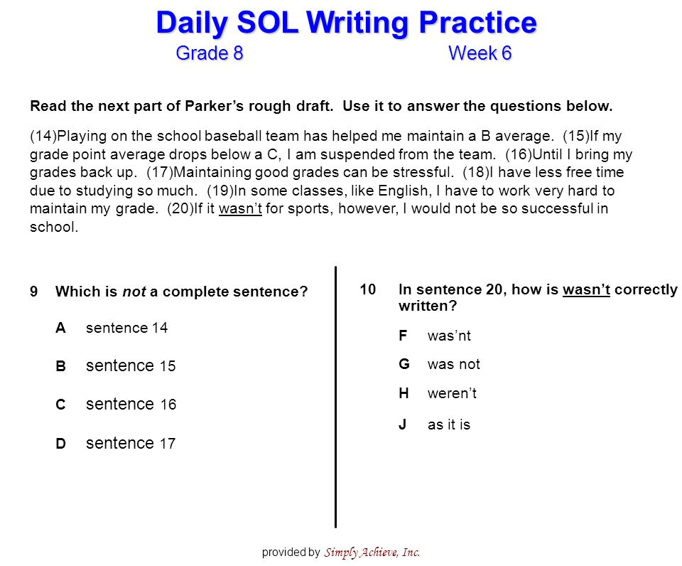 Grade 8Week 6 Daily SOL Writing Practice provided by Simply Achieve, Inc.