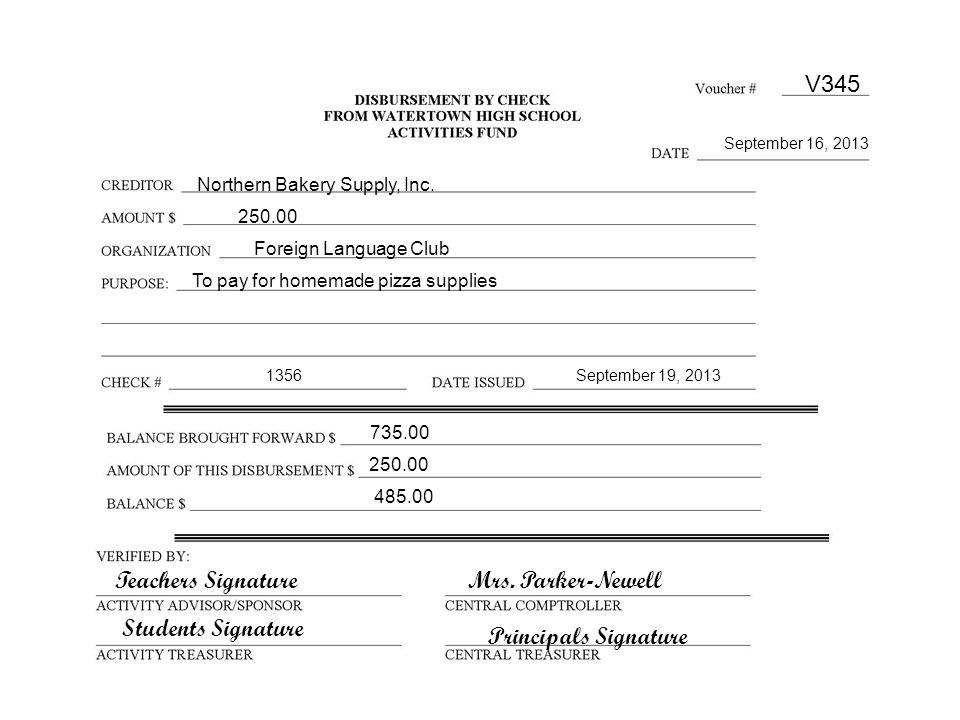 Principals Signature Mrs. Parker-Newell V345 September 16, 2013 Northern Bakery Supply, Inc.