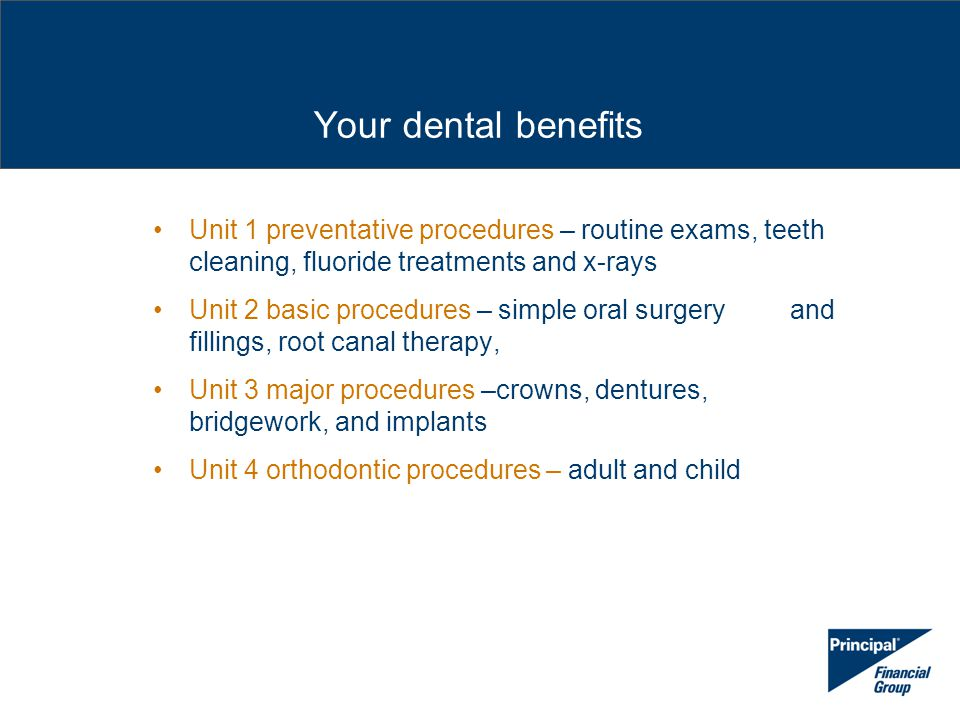 Unit 1 preventative procedures – routine exams, teeth cleaning, fluoride treatments and x-rays Unit 2 basic procedures – simple oral surgery and filli