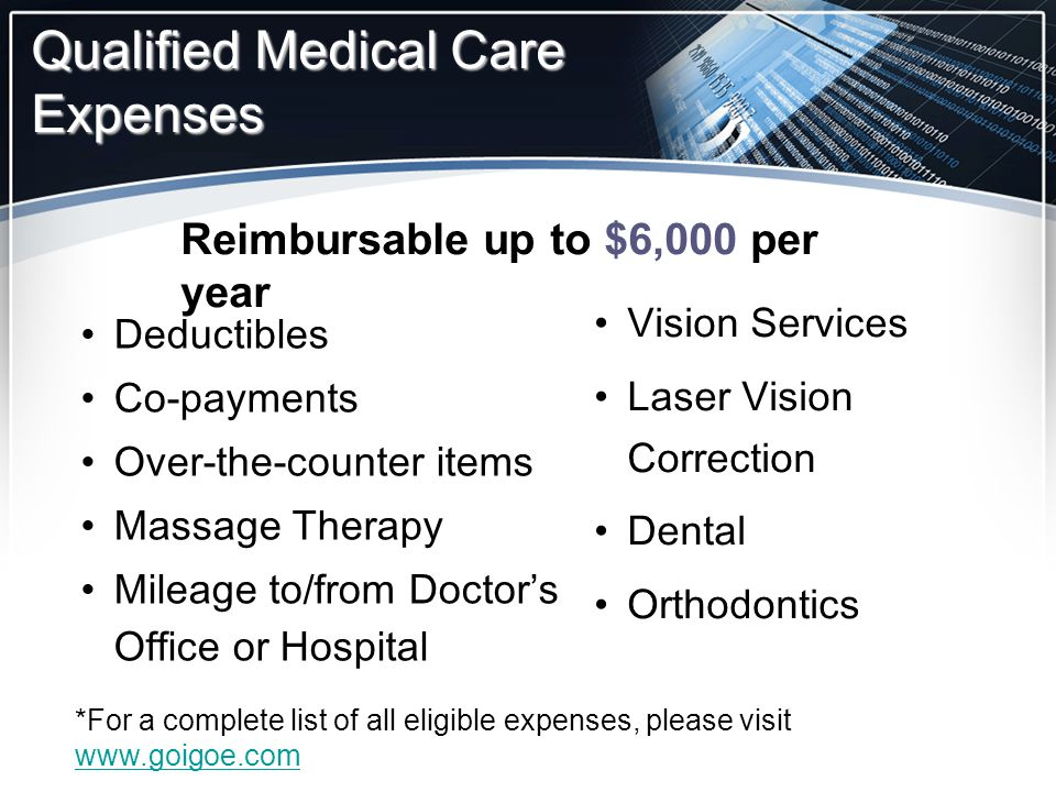 Deductibles Co-payments Over-the-counter items Massage Therapy Mileage to/from Doctor's Office or Hospital Vision Services Laser Vision Correction Den