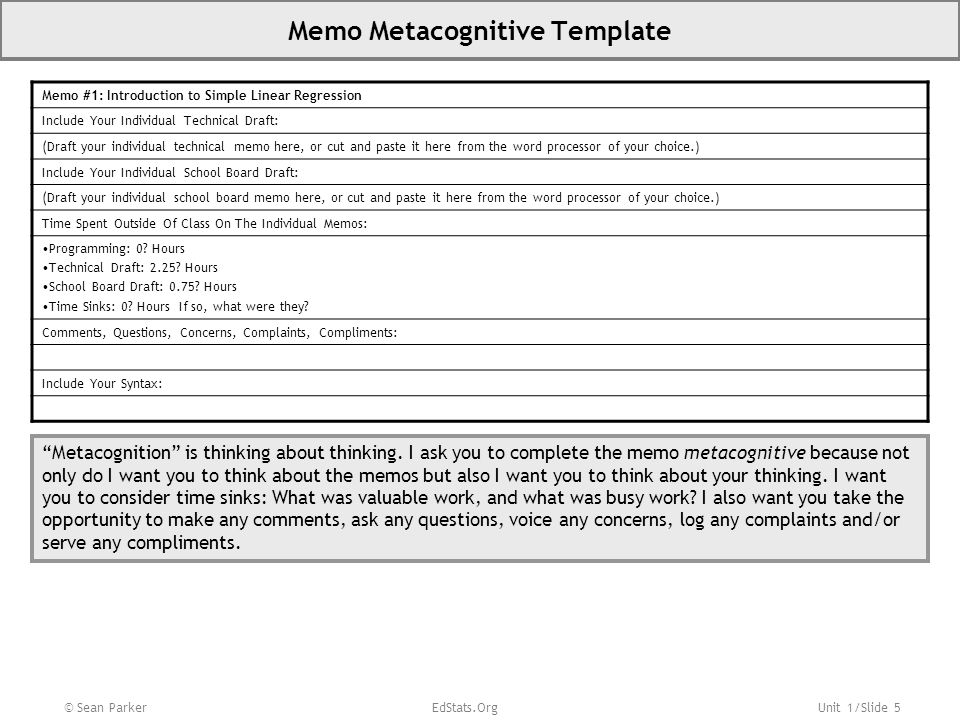 Unit 1/Slide 5 Memo Metacognitive Template Memo #1: Introduction to Simple Linear Regression Include Your Individual Technical Draft: (Draft your indi