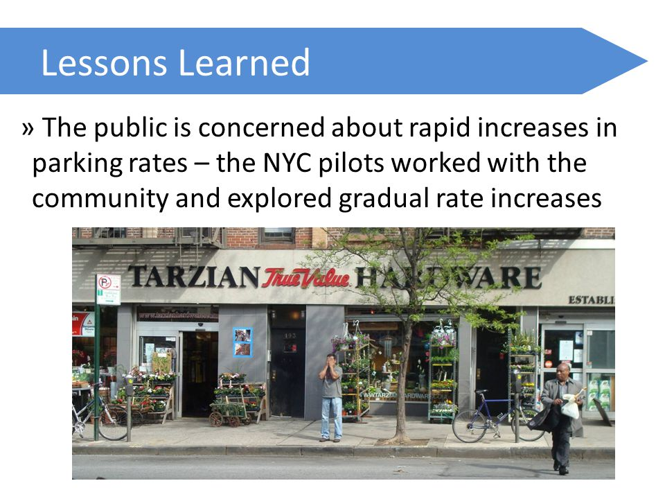 Lessons Learned » The public is concerned about rapid increases in parking rates – the NYC pilots worked with the community and explored gradual rate increases