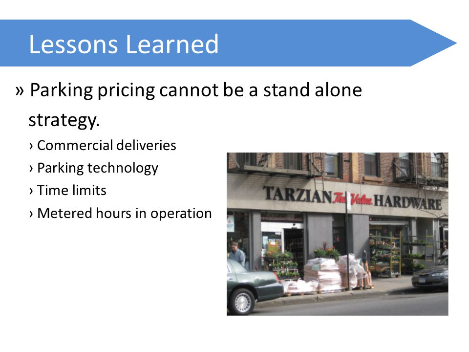 Lessons Learned » Parking pricing cannot be a stand alone strategy. › Commercial deliveries › Parking technology › Time limits › Metered hours in oper