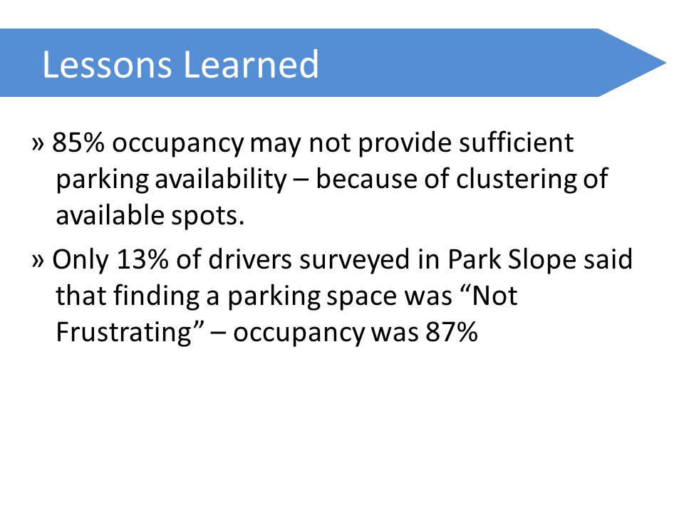 Lessons Learned » 85% occupancy may not provide sufficient parking availability – because of clustering of available spots.