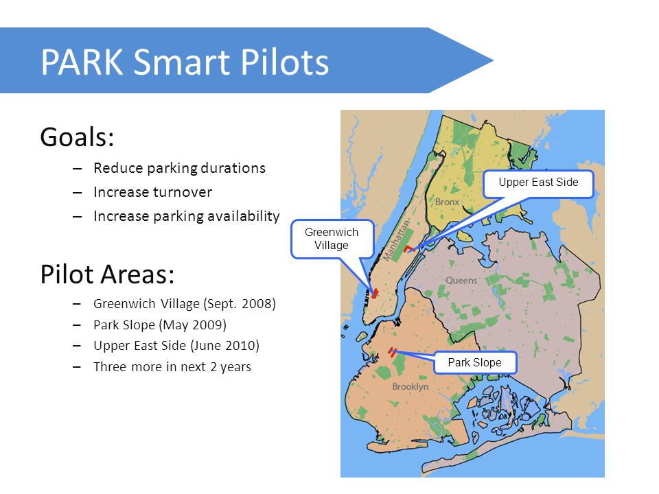 PARK Smart Pilots Goals: – Reduce parking durations – Increase turnover – Increase parking availability Pilot Areas: – Greenwich Village (Sept.