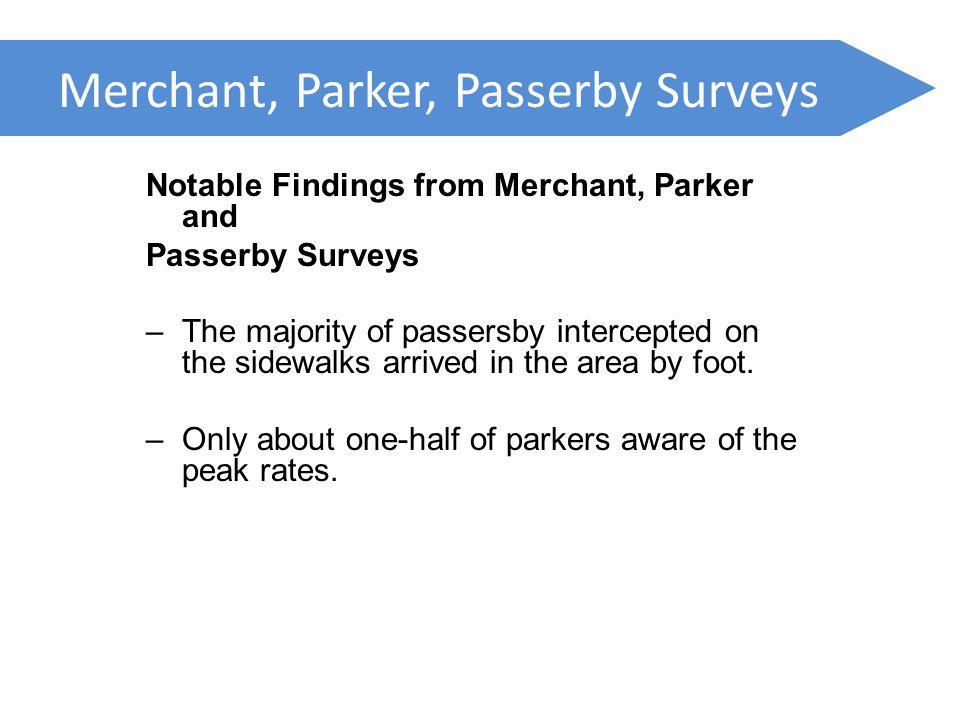 Merchant, Parker, Passerby Surveys Notable Findings from Merchant, Parker and Passerby Surveys –The majority of passersby intercepted on the sidewalks