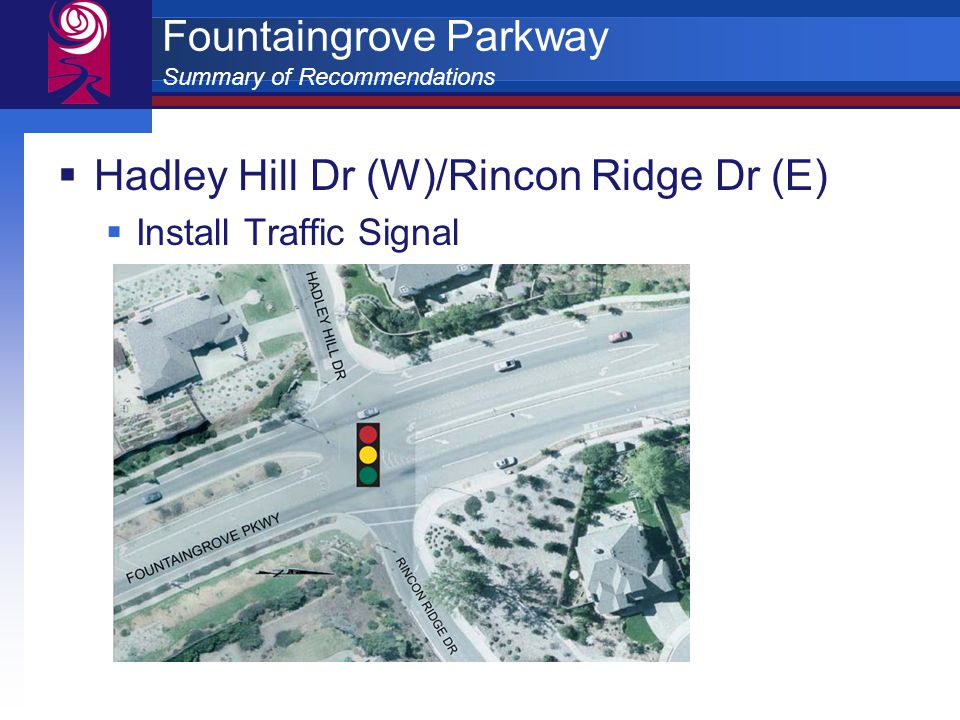Fountaingrove Parkway Summary of Recommendations  Hadley Hill Dr (W)/Rincon Ridge Dr (E)  Install Traffic Signal
