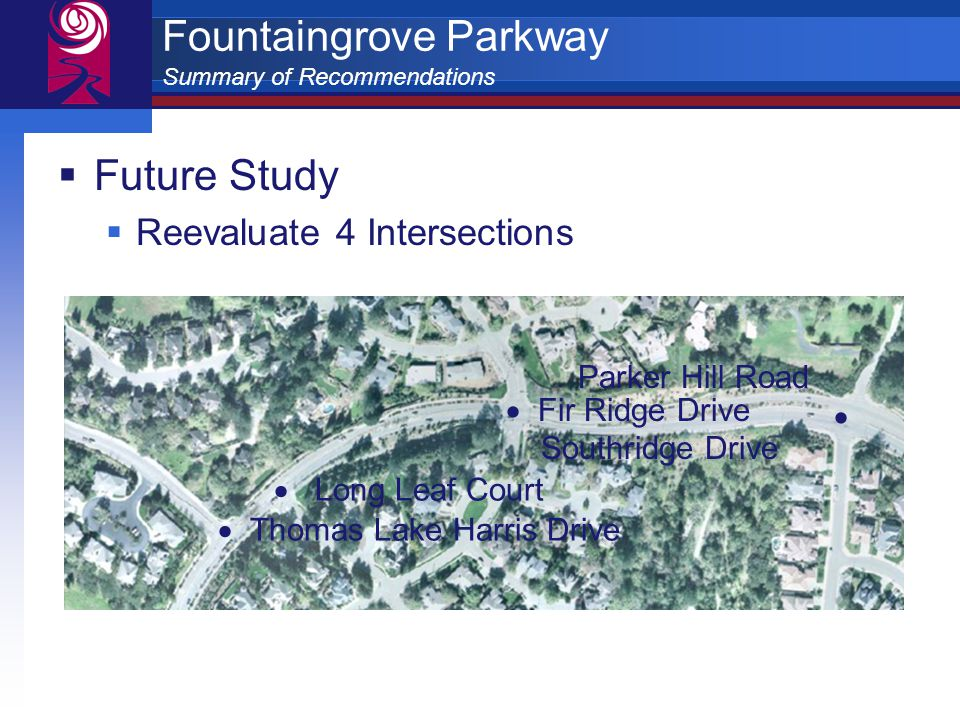 Fountaingrove Parkway Summary of Recommendations  Future Study  Reevaluate 4 Intersections  Thomas Lake Harris Drive  Long Leaf Court Parker Hill Road   Fir Ridge Drive Southridge Drive