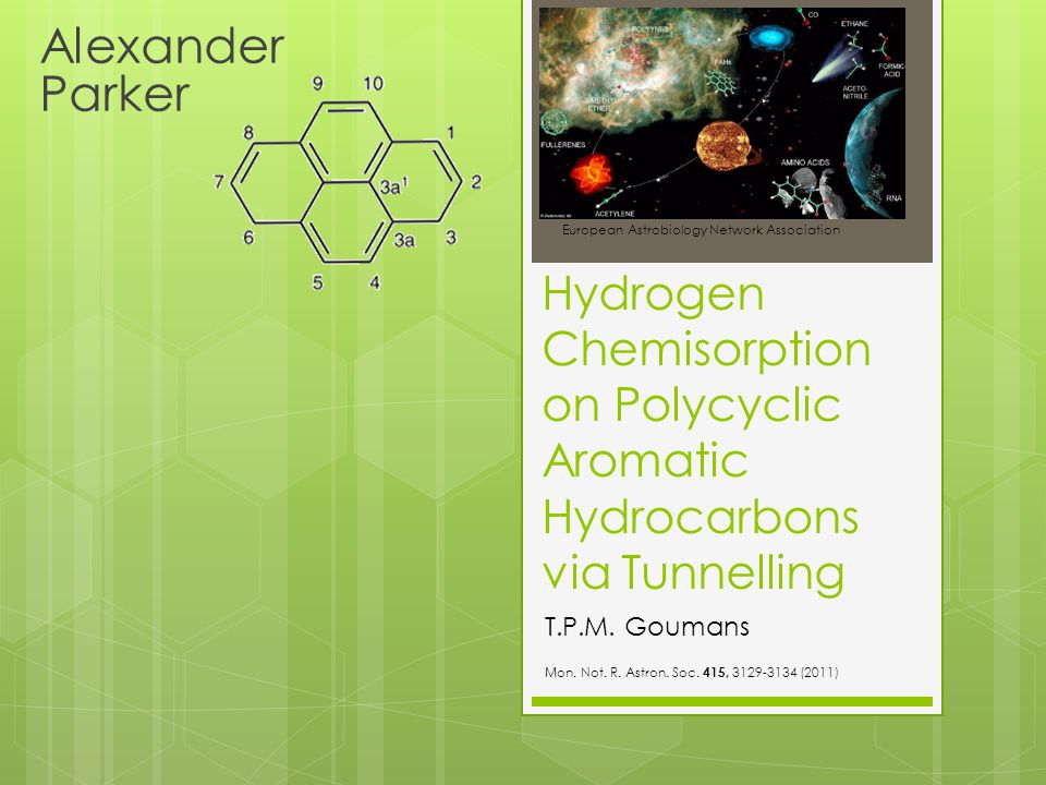 Hydrogen Chemisorption on Polycyclic Aromatic Hydrocarbons via Tunnelling Alexander Parker European Astrobiology Network Association T.P.M. Goumans Mo