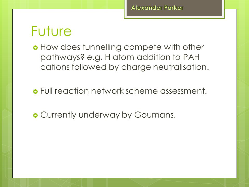 Future  How does tunnelling compete with other pathways.