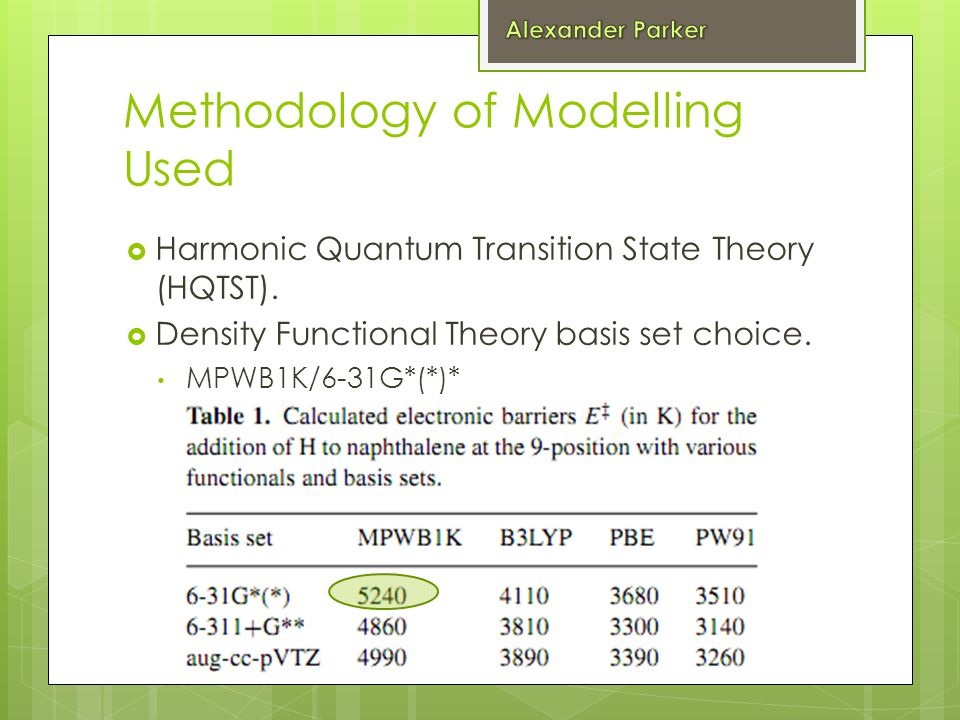 Methodology of Modelling Used  Harmonic Quantum Transition State Theory (HQTST).