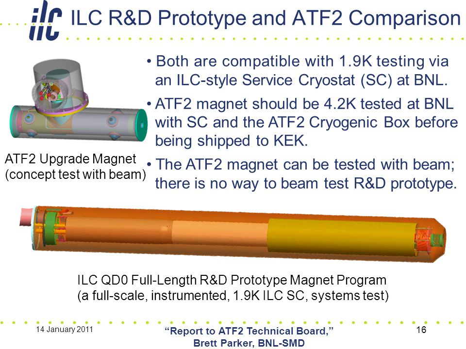 "ILC R&D Prototype and ATF2 Comparison 14 January 2011 ""Report to ATF2 Technical Board,"" Brett Parker, BNL-SMD 16 ATF2 Upgrade Magnet (concept test wit"