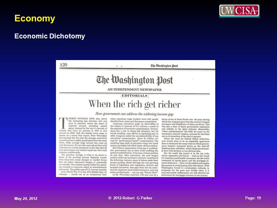 © 2012-Robert G Parker May 24, 2012 Page: 19 © 2012-Robert G Parker May 24, 2012 Page: 19 © 2012-Robert G Parker May 24, 2012 Page: 19 © 2012-Robert G Parker May 24, 2012 Page: 19 Economy Economic Dichotomy