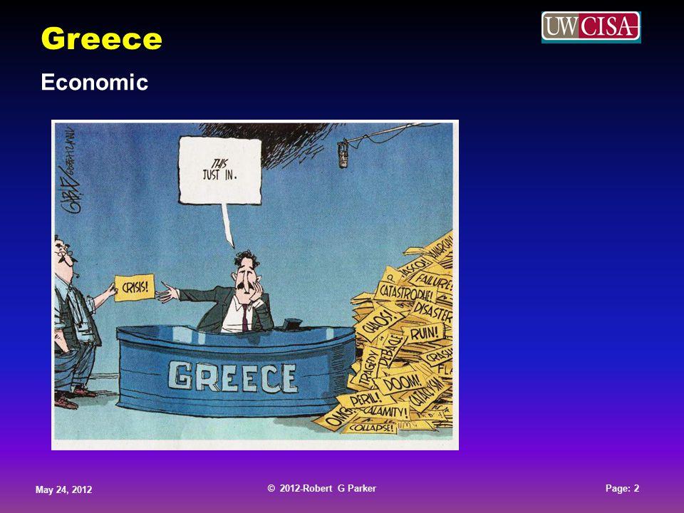 © 2012-Robert G Parker May 24, 2012 Page: 3 © 2012-Robert G Parker May 24, 2012 Page: 3 © 2012-Robert G Parker May 24, 2012 Page: 3 © 2012-Robert G Parker May 24, 2012 Page: 3 Greece Economic 2010 GDP EU Total - € 22,268,387 Greece - € 230,173 Greece Represents 1% of the EU GDP