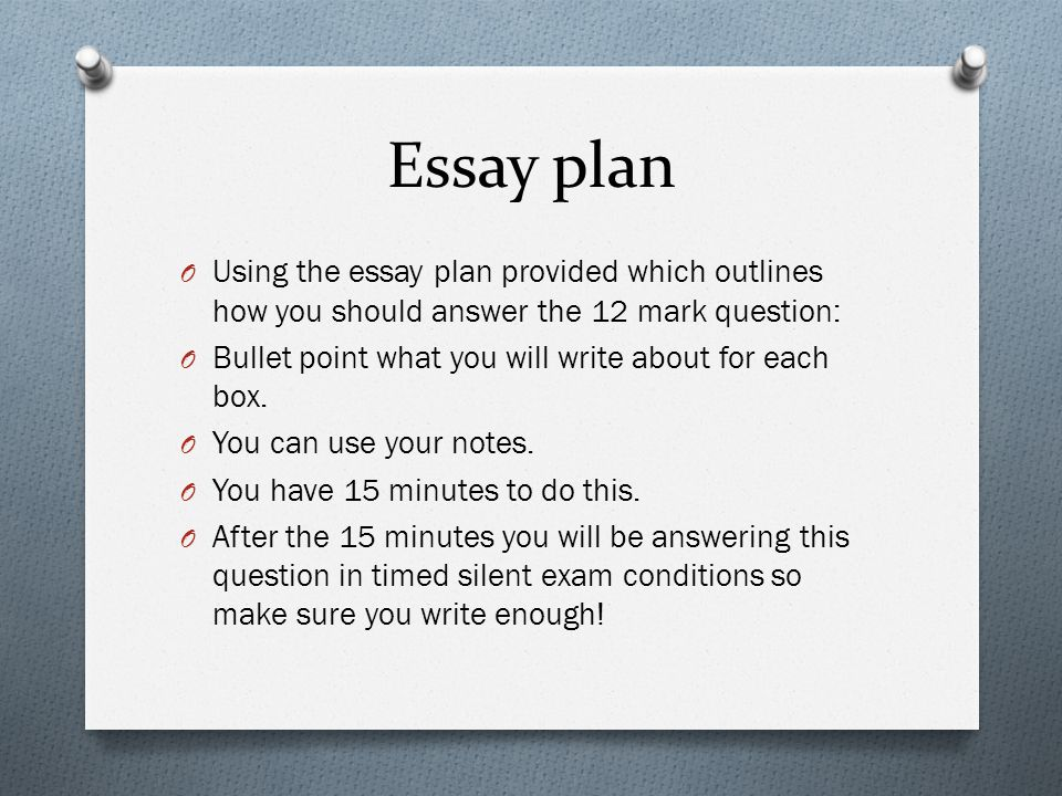 Essay plan O Using the essay plan provided which outlines how you should answer the 12 mark question: O Bullet point what you will write about for each box.