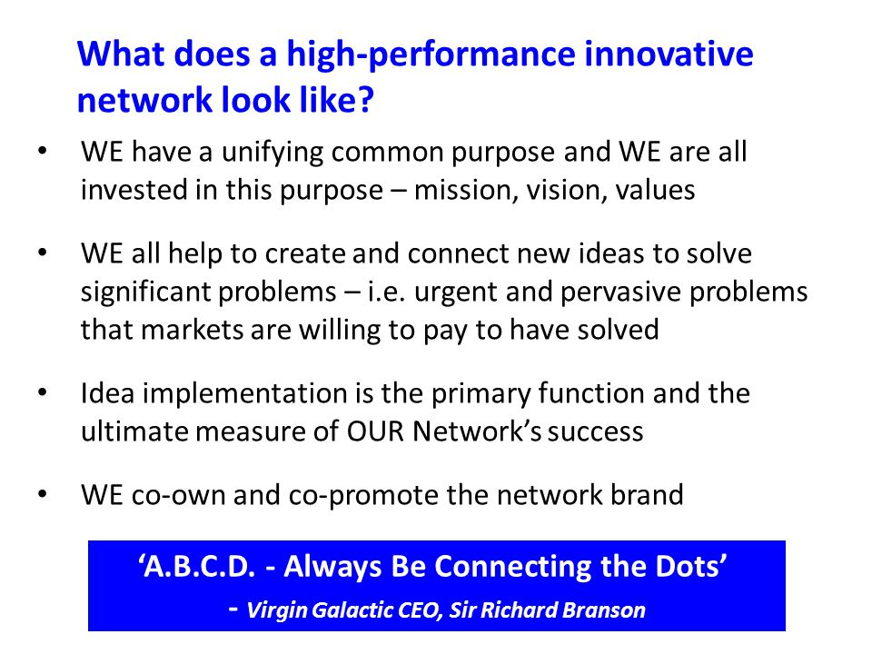 What does a high-performance innovative network look like.