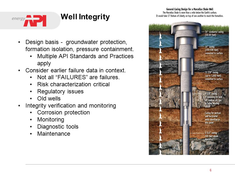 Methane in Groundwater Methane in groundwater occurs naturally 40-60% incidence rate (Marcellus) Many events historically noted Well integrity critical Cementing procedures – API 65-2 Cement design and testing Well cleaning and preparation Centralizer use Pumping procedures Regular well monitoring 7