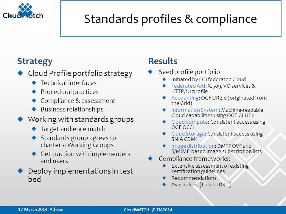 Strategy Cloud Profile portfolio strategy Technical interfaces Procedural practices Compliance & assessment Business relationships Working with standards groups Target audience match Standards group agrees to charter a Working Groups Get traction with implementers and users Deploy implementations in test bed Results Seed profile portfolio Initiated by EGI federated Cloud Federated AAI: X.509, VO services & HTTP/1.1 profile Accounting: OGF UR2.0 (originated from the Grid) Information System: Machine-readable Cloud capabilities using OGF GLUE2 Cloud compute: Consistent access using OGF OCCI Cloud Storage: Consistent access using SNIA CDMI Image distribution: DMTF OVF and S/MIME-based Image subscription lists Compliance frameworks: Extensive assessment of existing certification guidelines Recommendations Available at [Link to D4.1] Standards profiles & compliance CloudWATCH @ FIA2014 17 March 2014, Athens