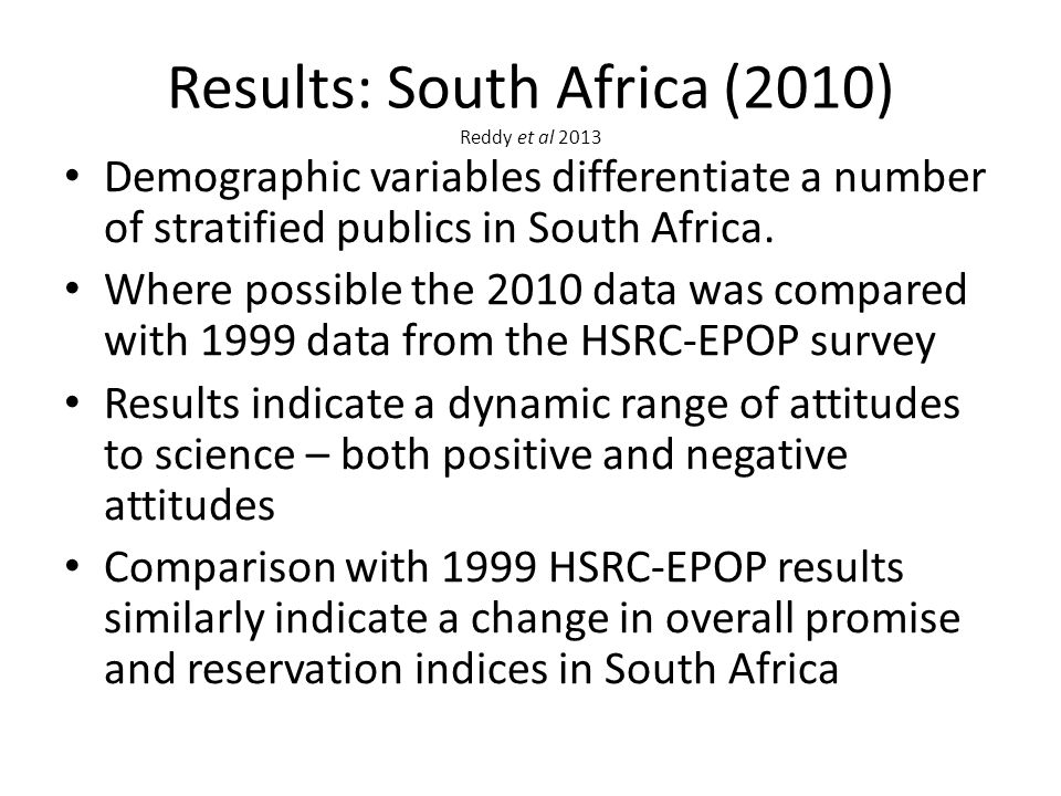 Results: South Africa (2010) Reddy et al 2013 Demographic variables differentiate a number of stratified publics in South Africa.