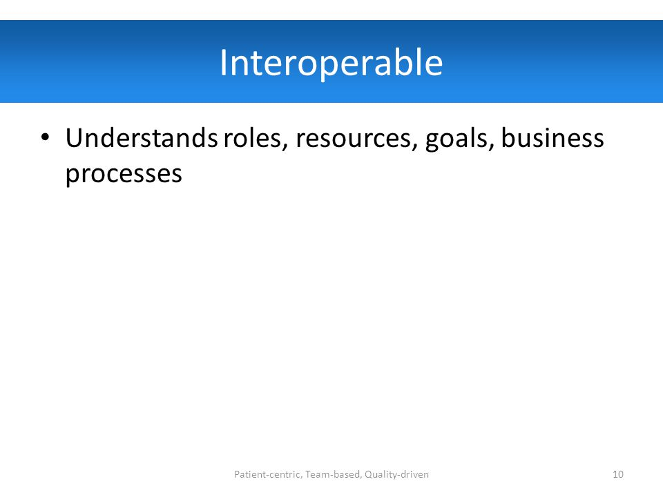 Interoperable Understands roles, resources, goals, business processes Patient-centric, Team-based, Quality-driven10