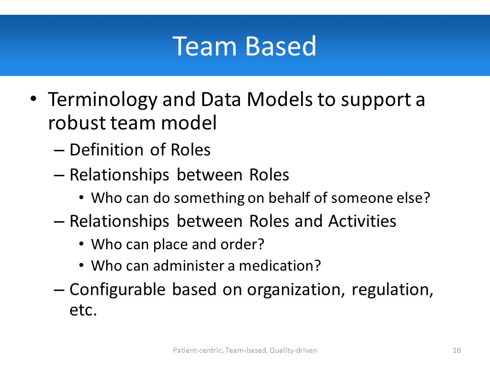 Team Based Terminology and Data Models to support a robust team model – Definition of Roles – Relationships between Roles Who can do something on behalf of someone else.