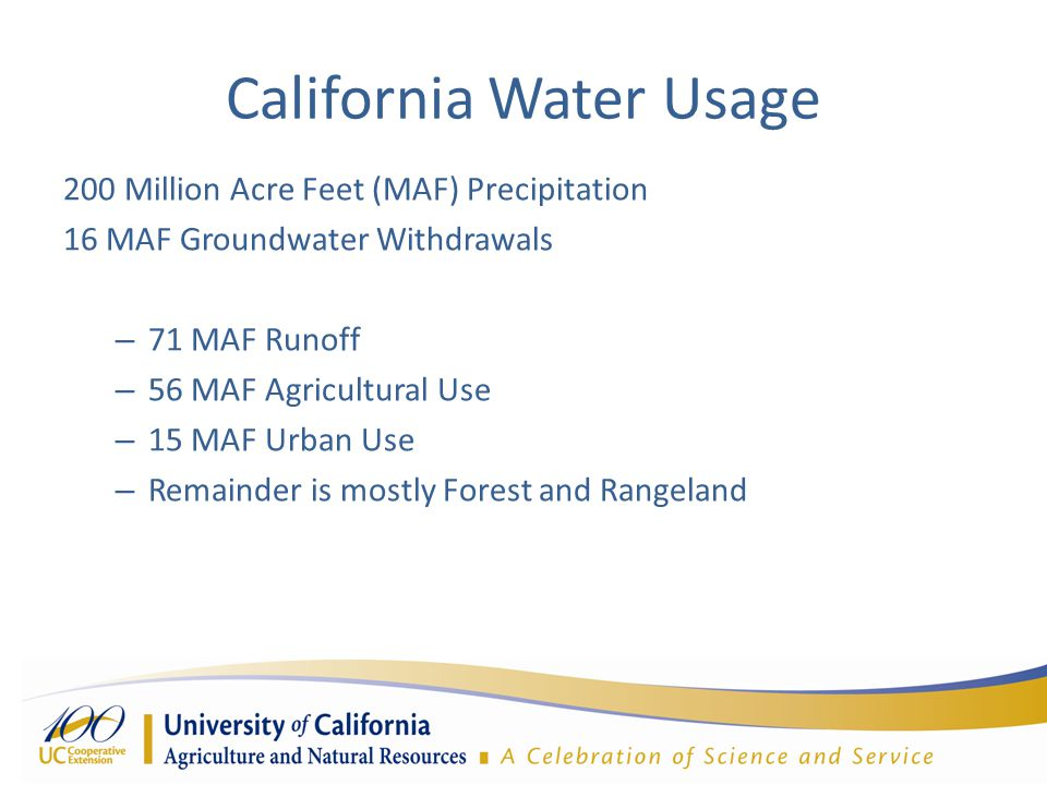 California Water Usage 200 Million Acre Feet (MAF) Precipitation 16 MAF Groundwater Withdrawals – 71 MAF Runoff – 56 MAF Agricultural Use – 15 MAF Urban Use – Remainder is mostly Forest and Rangeland